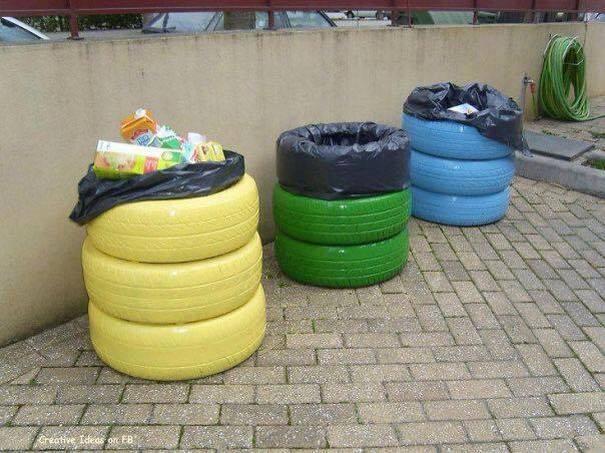 декорация в градината - кош за боклук от гуми